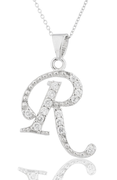 Ladies Real 925 Sterling Silver 'Letters Of The Alphabet' Pendant With Cz Stones And An 18 Inch Link Necklace (R)