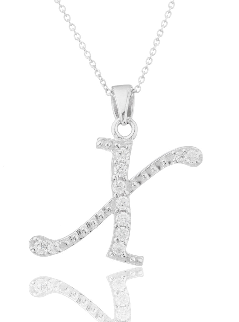 Ladies Real 925 Sterling Silver 'Letters Of The Alphabet' Pendant With Cz Stones And An 18 Inch Link Necklace (X)
