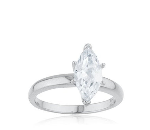 Ladies Real 925 Sterling Silver Marquise Shape Stone Classic Solitaire Promise Ring