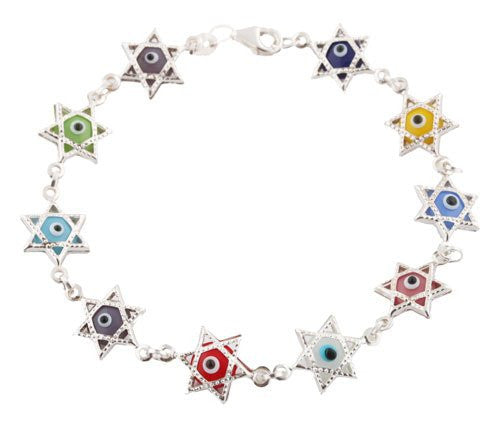 Ladies Real 925 Sterling Silver Multicolored Star Of David And Outline Covering Bracelet