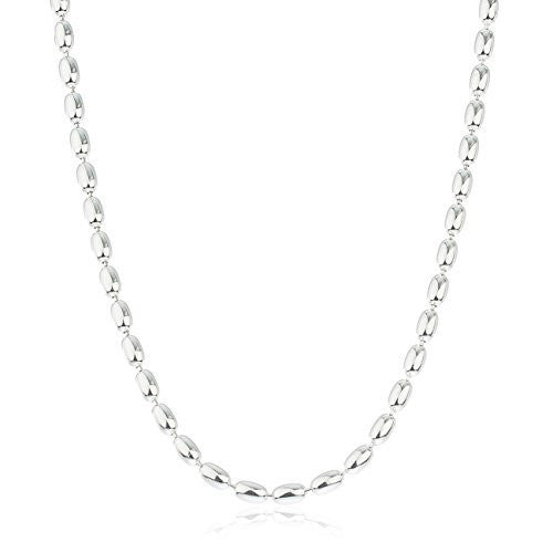 Mens 925 Sterling Silver 4mm Oval Beaded Chain