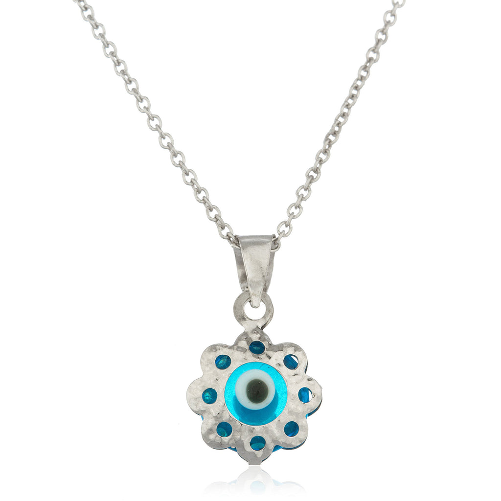 Real 14k White Gold With Blue Evil Eye Metal Rimmed Pendant And An 18 Inch 925 Sterling Silver Necklace