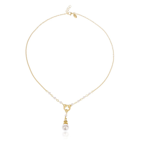 Real 925 Gold Plated Sterling Silver Dangling Simulated Pearl 2mm 16 Inch Rolo Necklace