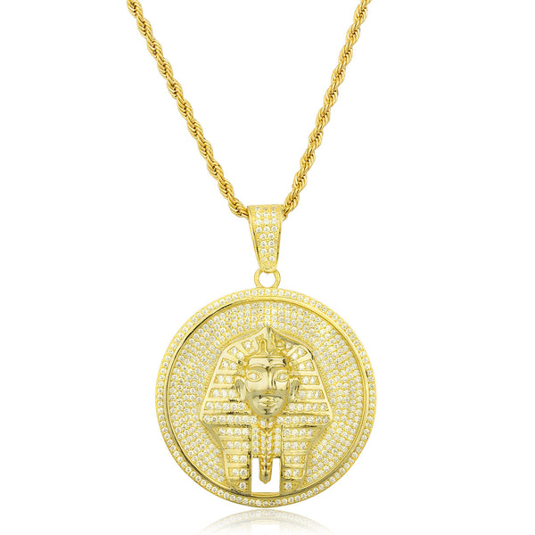 Real 925 Gold Plated Sterling Silver Pharaoh Disc Pendant With Cz Stones And A 30 Inch Brass Rope Necklace