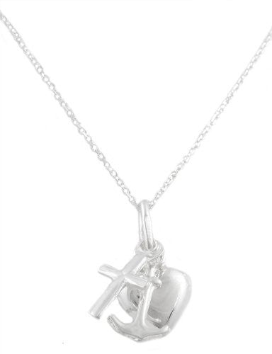 Real 925 Italy Sterling Silver Medium Dangle Cross, Heart, Anchor 16 Inch Link Necklace