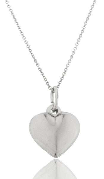 Real 925 Rhodium Plated Silver Heart Pendant With An 18 Inch Link Necklace