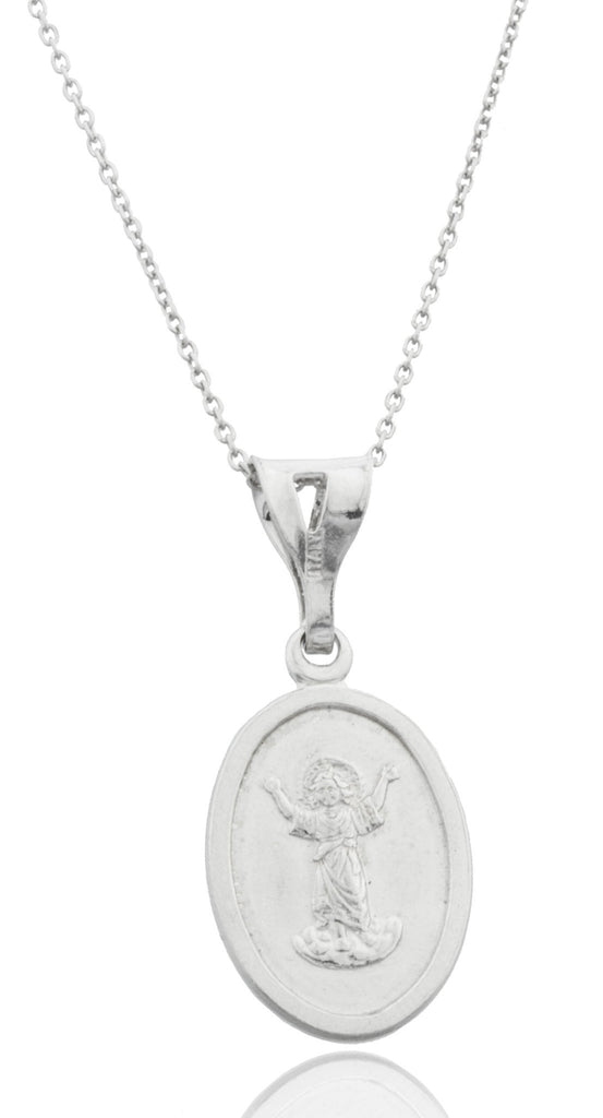 Real 925 Rhodium Plated Silver Small Baby Jesus Charm With An 18 Inch Link Necklace