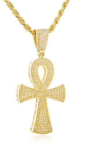 Real 925 Sterling Ankh Cross Pendant With Clear Cz Stones And A 3mm 24 Inch Rope Necklace