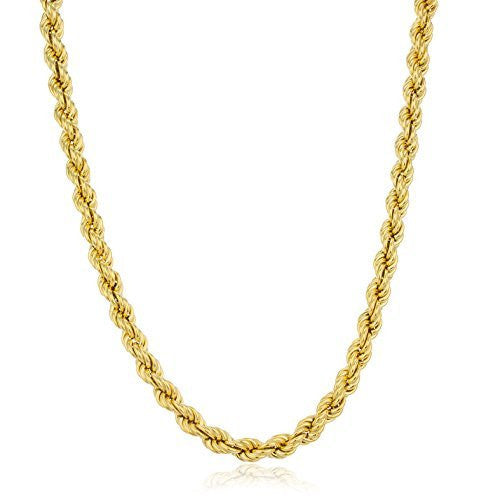 Real 925 Sterling Gold Plated 6mm Rope Chain Necklace. (24 Inches)