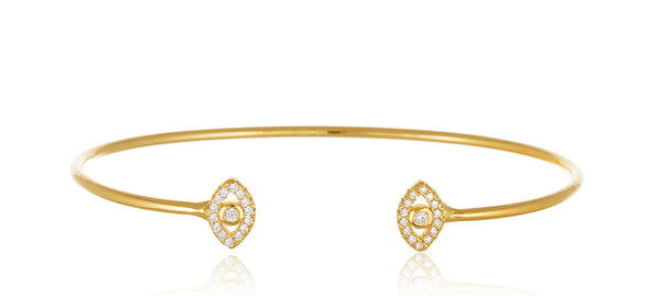 Real 925 Sterling Goldtone Cuff Bracelet With Evil Eye Ends And Cubic Zirconia