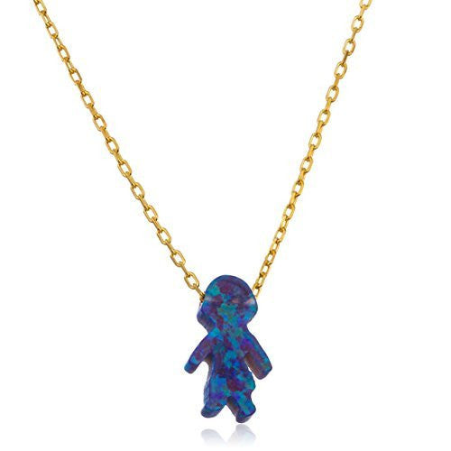 Real 925 Sterling Gold Plated Dark Blue Created Opal Boy Pendant With An 18 Inch Link Necklace