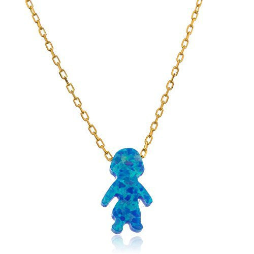 Real 925 Sterling Goldtone Light Blue Created Opal Girl Pendant With An 18 Inch Link Necklace