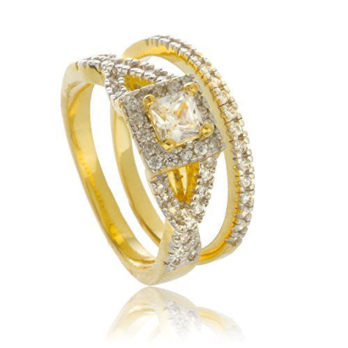 Real 925 Sterling Gold Plated With Cz Eye Design Square Stone Engagement Ring 2 Piece Set Sizes 7-9 (7)