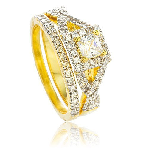 Real 925 Sterling Gold Plated With Cz Layered Square Stone Engagement Ring 2 Piece Set Sizes 8-9 (8)