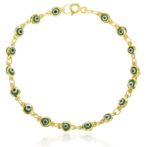 Real 925 Sterling Gold Platted With Green Evil Eye Charmed 7 Inch Bracelet