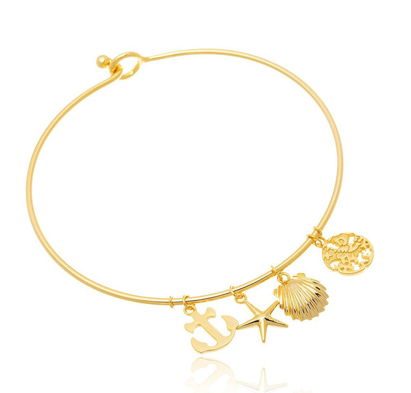 Real 925 Sterling Goldtone Nautical Inspired Charms Hook Bangle Bracelet