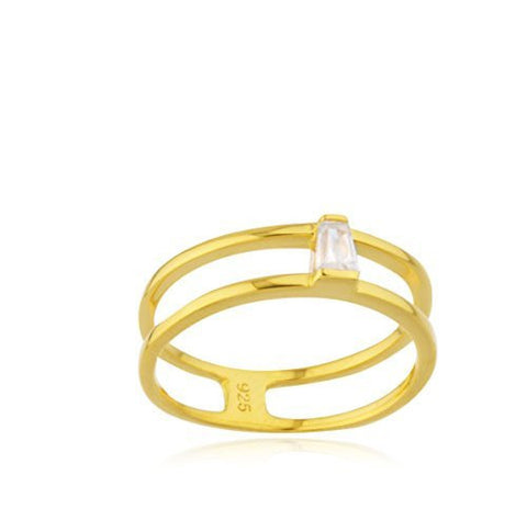 Real 925 Sterling Goldtone Two Row With CZ Stone Ring
