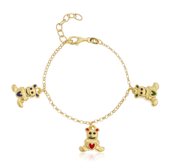 Real 925 Sterling Goldtone With Multicolor Teddy Bear Charms Adjustable 6 Inch Baby Bracelet