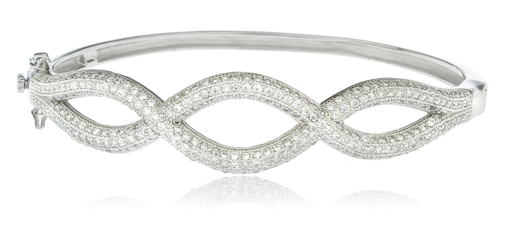 Real 925 Sterling Rhodium Plated Braided Design Bridal Bangle With Cubic Zirconia Stones