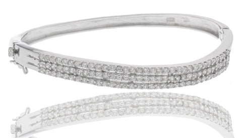 Real 925 Sterling Rhodium Plated Bridal Bangle With Cubic Zirconia Stones
