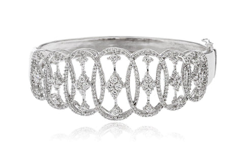 Real 925 Sterling Rhodium Plated Circle Design Bridal Bangle With Cubic Zirconia Stones