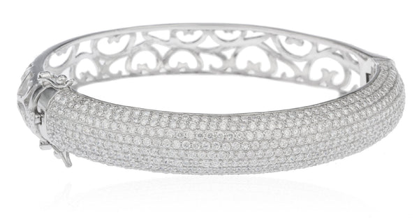 Real 925 Sterling Rhodium Plated Heart Design Bridal Bangle With Full Cubic Zirconia Stones