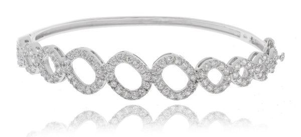 Real 925 Sterling Rhodium Plated Mini Circle Design Bridal Bangle With Cubic Zirconia Stones
