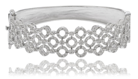 Real 925 Sterling Rhodium Plated Multiple Circle Design Bridal Bangle With Cubic Zirconia Stones