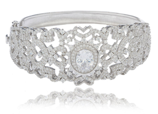 Real 925 Sterling Rhodium Plated Round Design Bridal Bangle With Cubic Zirconia Stones