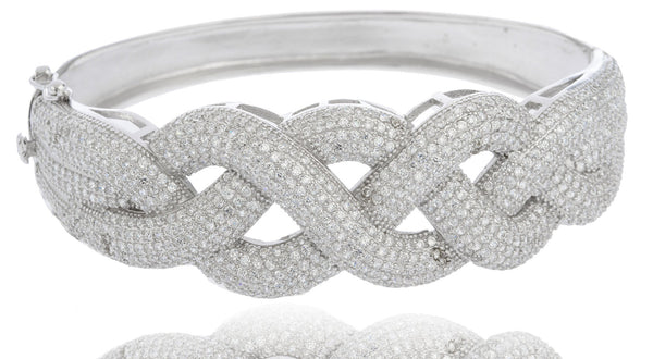 Real 925 Sterling Rhodium Plated Thick Braided Design Bridal Bangle With Cubic Zirconia Stones