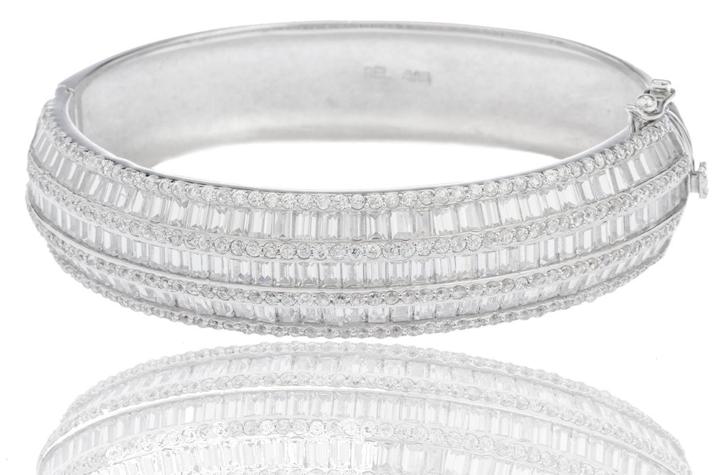 Real 925 Sterling Rhodium Plated Three Layer Design Bridal Bangle With Baguette Stones