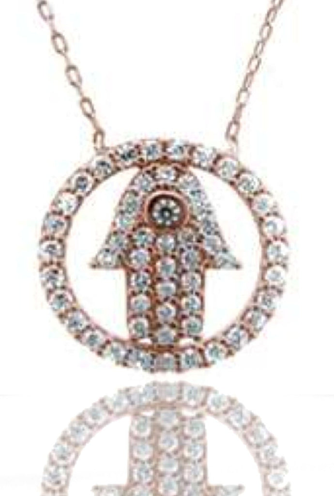 Real 925 Sterling Rose-Goldtone Small Circle Hamsa Pendant With A 16 Inch Adjustable Link Necklace