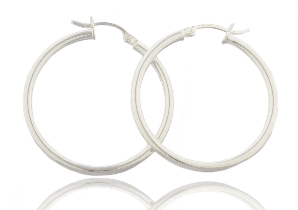 Real 925 Sterling Silver 1.5 Inch (38mm) Hoop Earrings