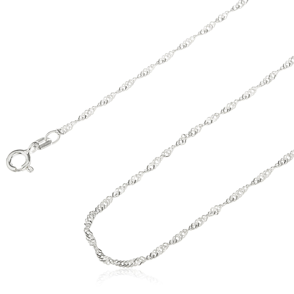 Real 925 Sterling Silver 1.5mm Singapore Chain (7 Inches)