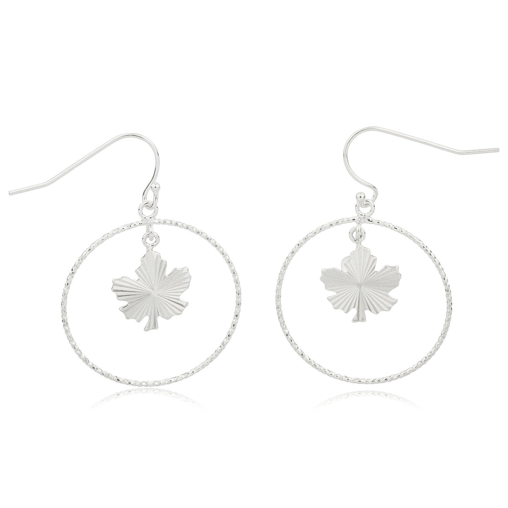 Real 925 Sterling Silver 1 Inch (25mm) Hoop Earrings With Dangling Leaf Charm