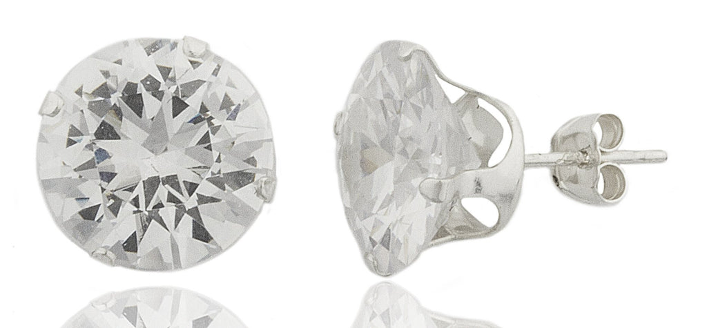 Real 925 Sterling Silver 10, 11 Or 12mm Four Prong Round Cubic Zirconia Stud Earrings (10 Millimeters)