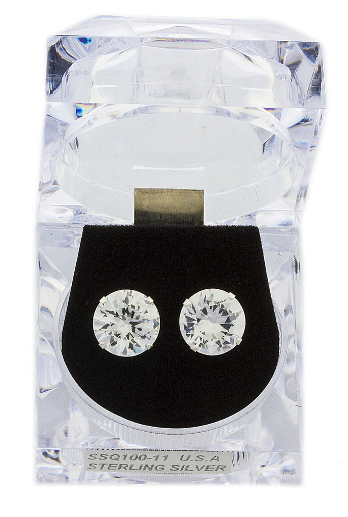 Real 925 Sterling Silver 10, 11 Or 12mm Four Prong Round Cubic Zirconia Stud Earrings (11 Millimeters)