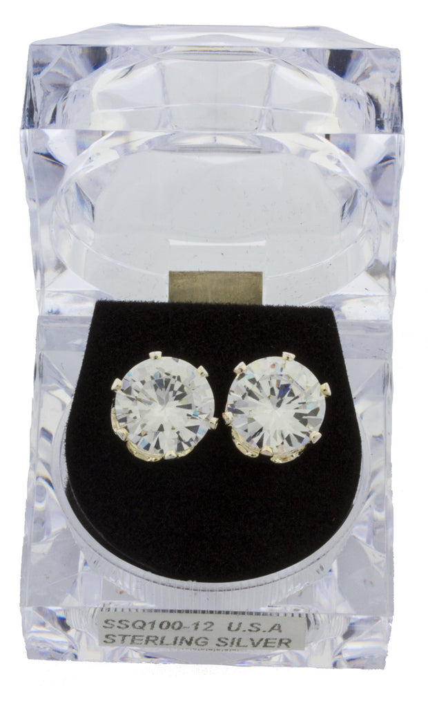 Real 925 Sterling Silver 10, 11 Or 12mm Four Prong Round Cubic Zirconia Stud Earrings (12 Millimeters)