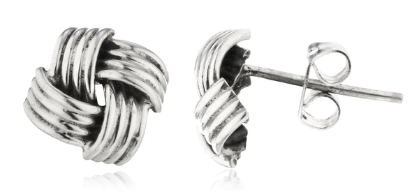 Real 925 Sterling Silver 10mm Love Knot Square Stud Earrings