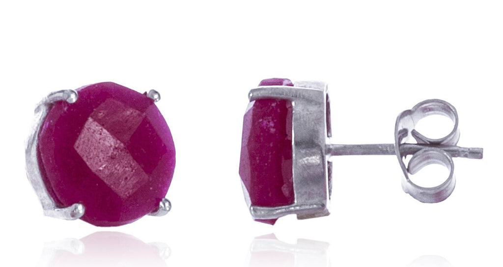Real 925 Sterling Silver 10mm Semi Precious Stone Stud Earrings (Silver/Ruby)