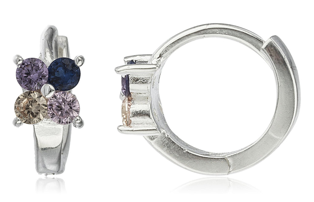 Real 925 Sterling Silver 12mm Huggie Hoop Earrings With A Mini Flower Charm And Colorful Cz Stones