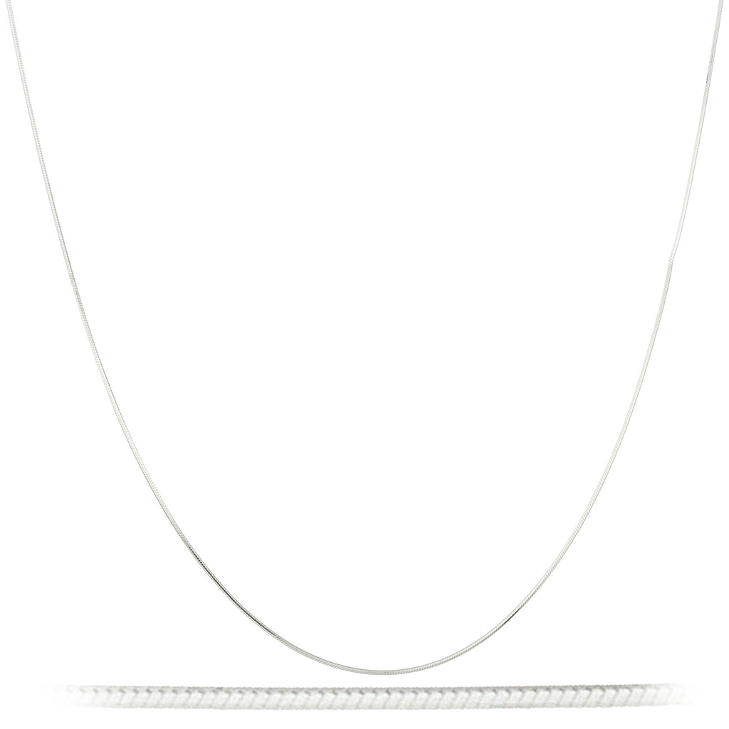 Real 925 Sterling Silver 14 Inch 1mm 8 Sided Snake Chain Necklace
