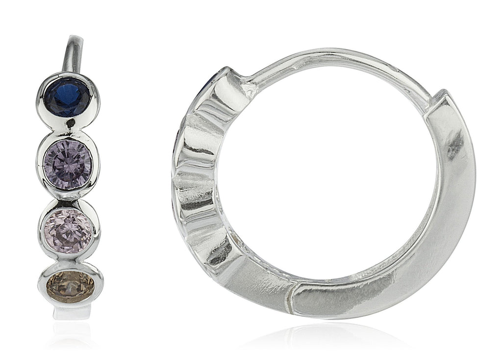 Real 925 Sterling Silver 16.5mm Huggie Hoop Earrings With Round Multi Color Cz Stones