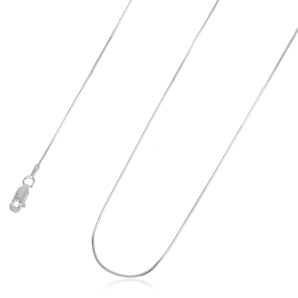 Real 925 Sterling Silver 16 Inch 1mm 8 Sided Snake Chain Necklace