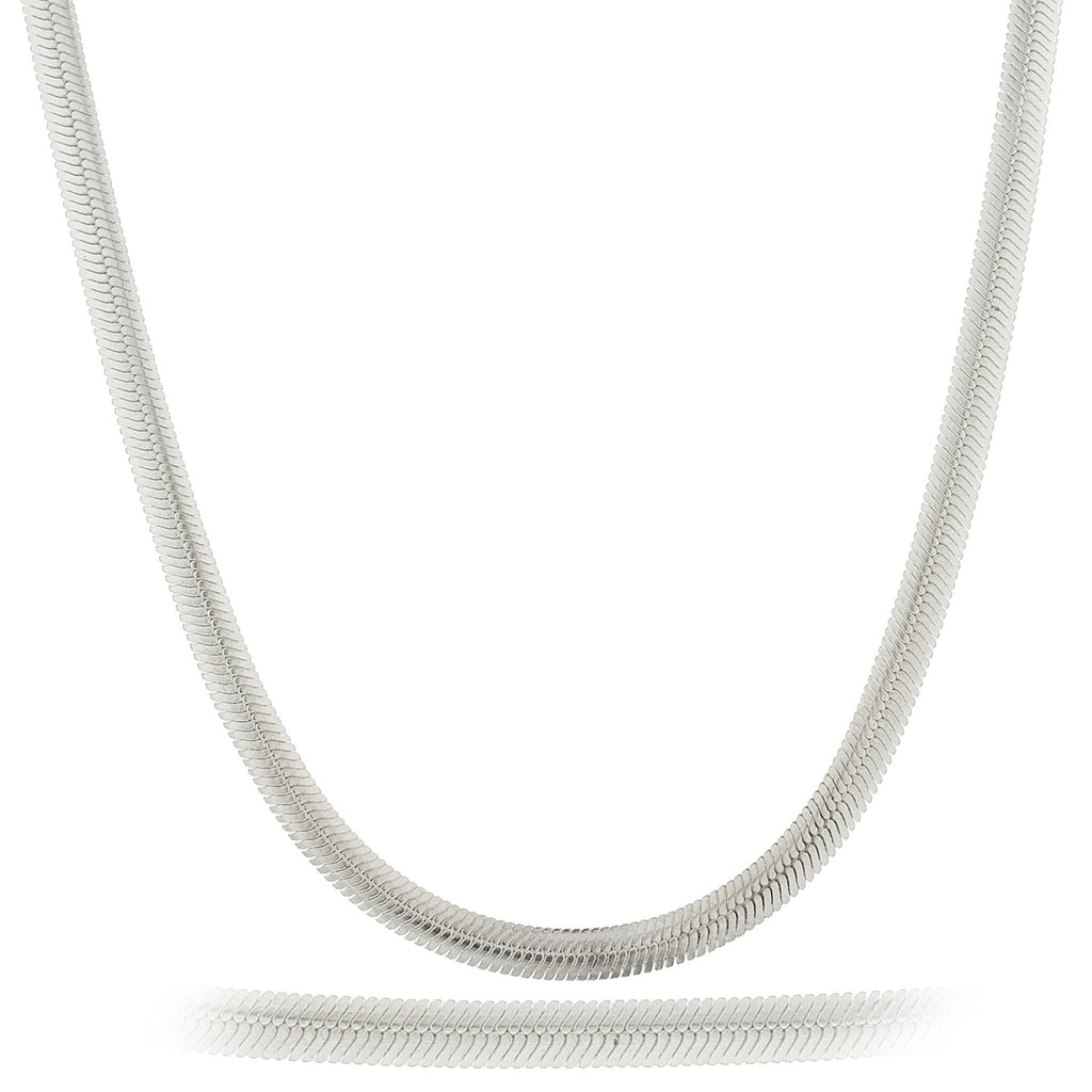 Real 925 Sterling Silver 16 Inch 4mm Oval Snake Chain Necklace