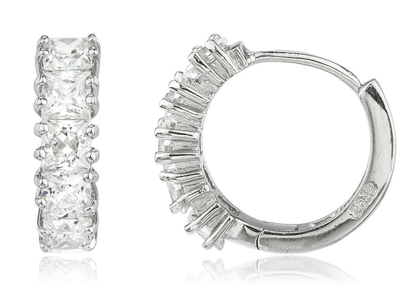 Real 925 Sterling Silver 17mm Huggie Hoop Earrings With Cz Stones