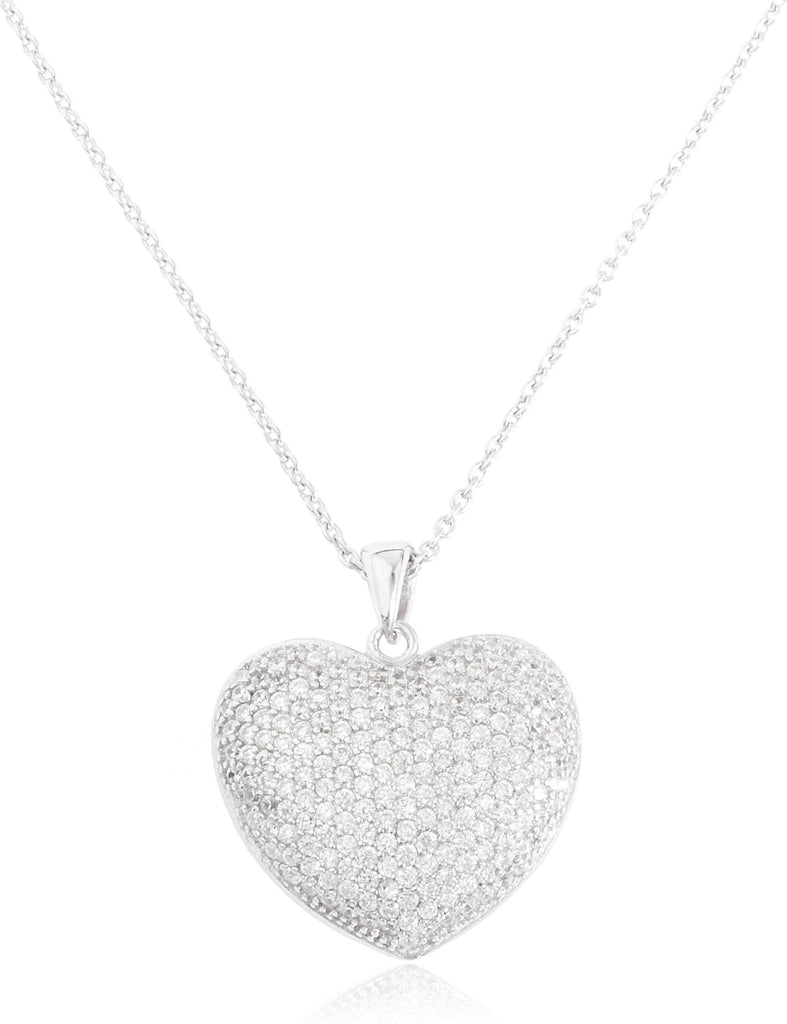 Real 925 Sterling Silver 18 Inch Heart Pendant Necklace