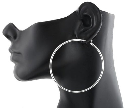 Real 925 Sterling Silver 2.75 Inch Hoop Earrings