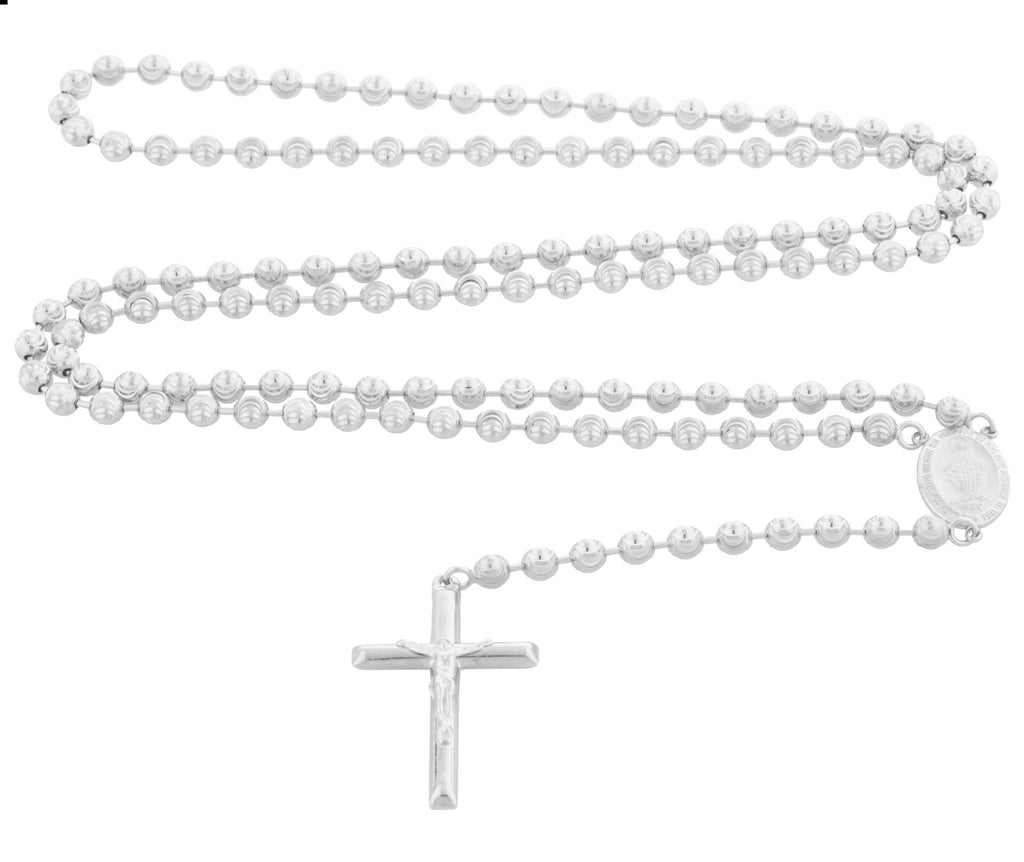 Real 925 Sterling Silver 23 Inch Moon Cut Jesus Cross And Mother Mary Charm Rosary Necklace