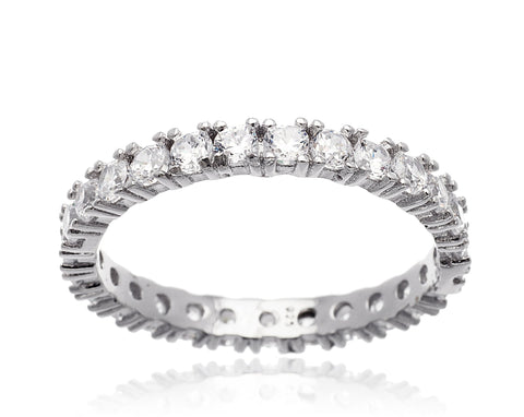 Real 925 Sterling Silver 2mm Band Ring With Cubic Zirconia (6)